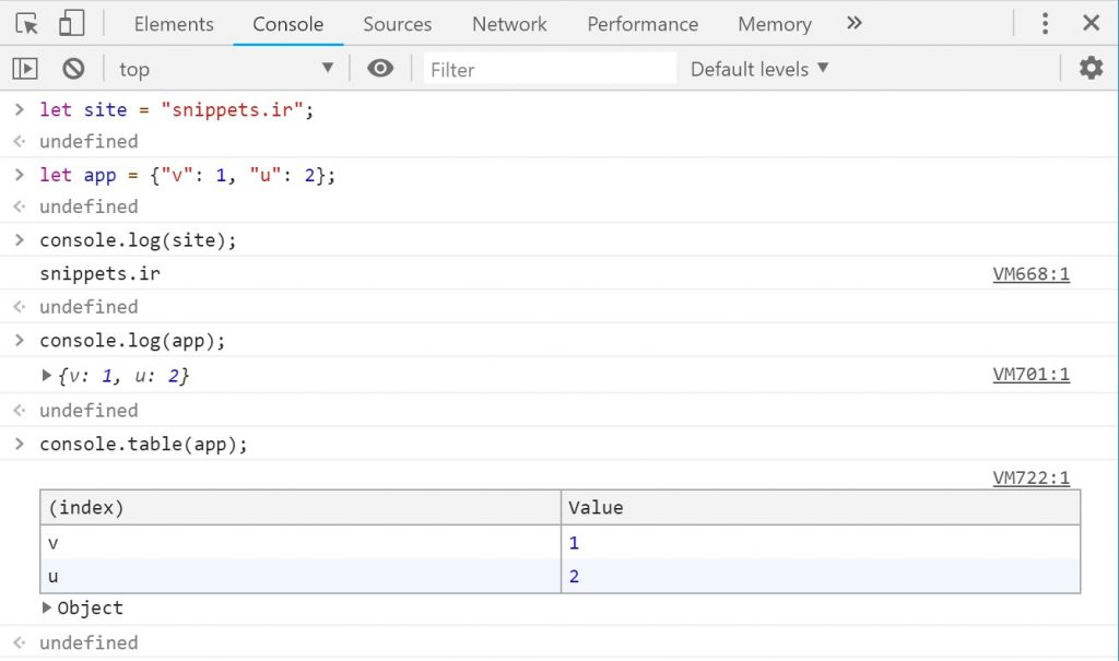 console.log & console.table